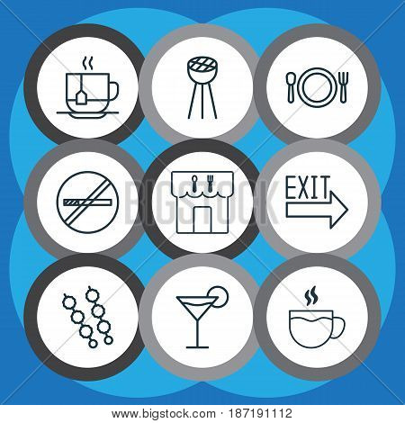 Set Of 9 Eating Icons. Includes Stick Batbecue, Stop Smoke, Restaurant And Other Symbols. Beautiful Design Elements.