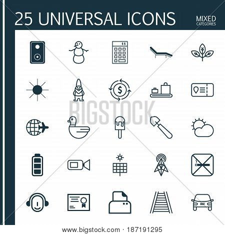 Set Of 25 Universal Editable Icons. Can Be Used For Web, Mobile And App Design. Includes Elements Such As Wireless Router, Sunshine, Trip Access And More.