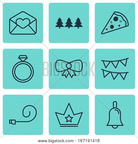 Set Of 9 New Year Icons. Includes Wedding Jewel, Decorative Flags, Handbell Symbols. Beautiful Design Elements.