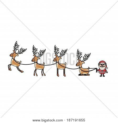 color crayon stripe cartoon of funny reindeers and santa claus vector illustration