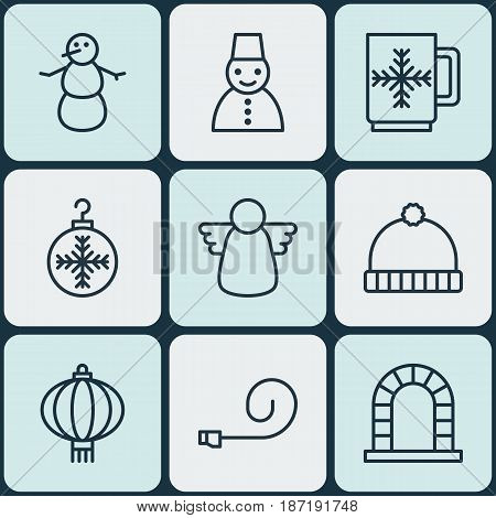 Set Of 9 Holiday Icons. Includes Knitted Cap, Traditional Lamp, Winter Cup And Other Symbols. Beautiful Design Elements.