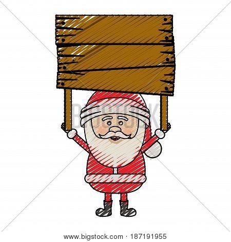 color crayon stripe cartoon of santa claus with wooden banner vector illustration