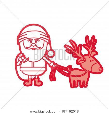 red silhouette of santa claus with gift bag and reindeer with rope vector illustration