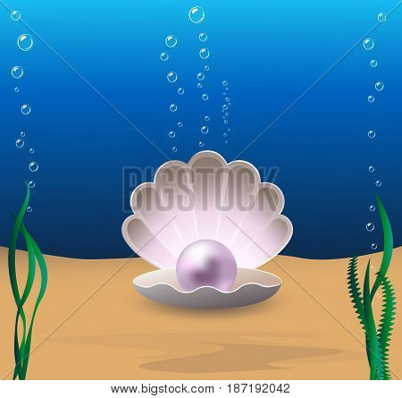 Marine cockleshell with a pearl on a sea-bottom