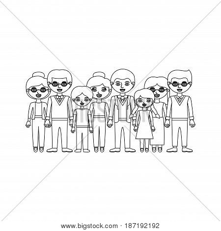 monochrome silhouette with family group with informal clothes and some adults with glasses vector illustration