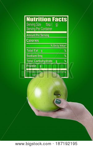 Poster with green apple for nutrition Facts Organic food