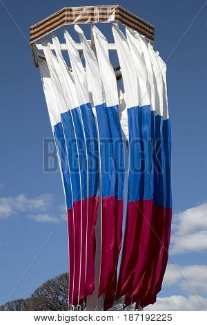 National flags of the Russian Federation developing in the wind against the sky