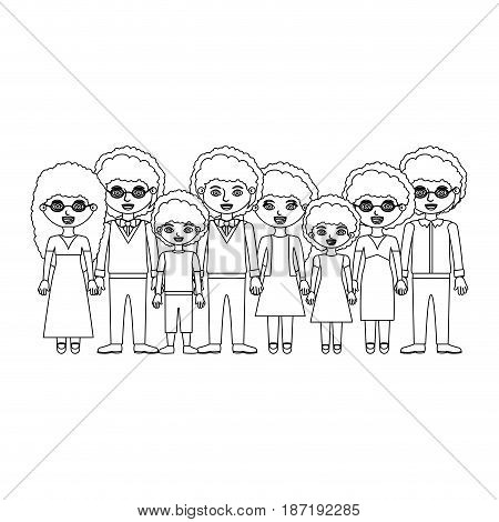 monochrome silhouette of family group with curly hair and informal clothes vector illustration