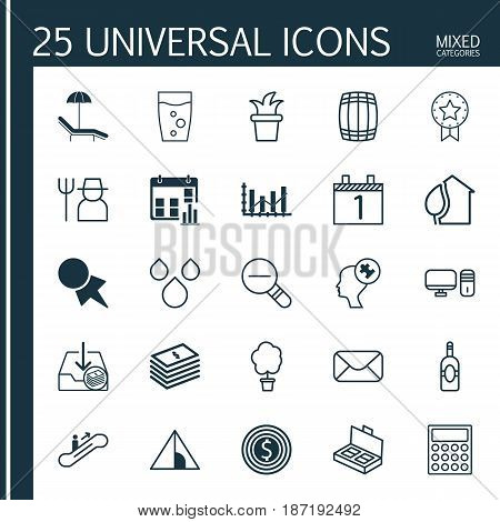 Set Of 25 Universal Editable Icons. Can Be Used For Web, Mobile And App Design. Includes Elements Such As Document Suitcase, Raise Diagram, Dollar Banknote And More.