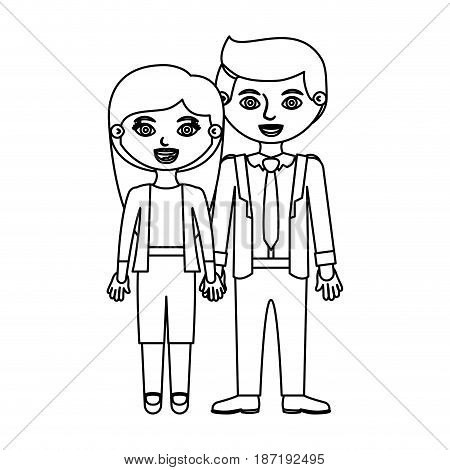 black contour couple woman with long hair with man in formal style and taken hands vector illustration