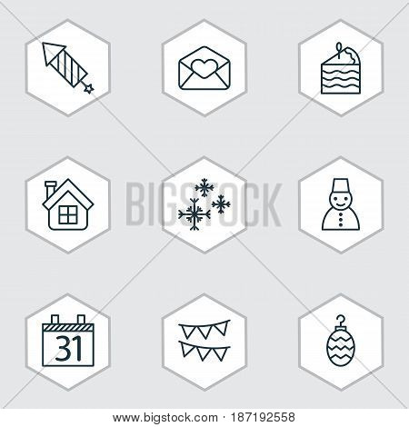 Set Of 9 Holiday Icons. Includes Date, Greeting Email, Residential And Other Symbols. Beautiful Design Elements.