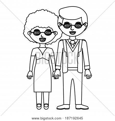 black contour couple curly woman with dress and man in formal suit with taken hands vector illustration
