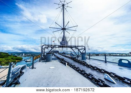 The bow section of the museum battleship USS MIssouri in Pearl Harbor, Hawaii