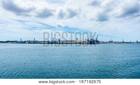 Navy ships moored in Pearl Harbor, Hawaii