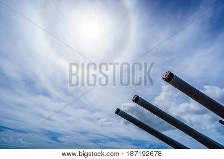 Cannon Tubes of the museum battleship USS MIssouri in Pearl Harbor, Hawaii