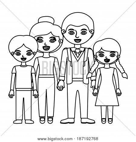 black contour family group in casual suit vector illustration