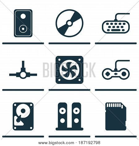 Set Of 9 Computer Hardware Icons. Includes Joystick, Cd-Rom, Network Structure And Other Symbols. Beautiful Design Elements.