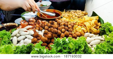 Mix meat ball food and Backgrund .