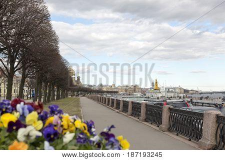 Saint Petersburg, Russia,may 03, 2017:The embankment of Lieutenant Schmidt.