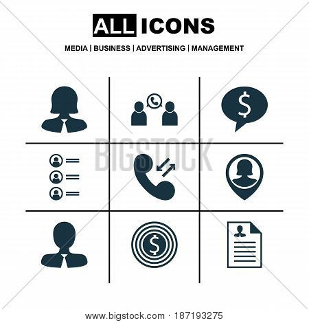 Set Of 9 Hr Icons. Includes Business Deal, Business Goal, Business Woman And Other Symbols. Beautiful Design Elements.