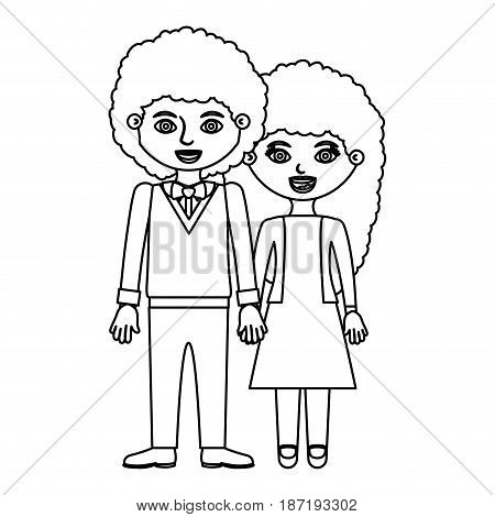 black contour curly couple woman with dress and man with bowtie and taken hands vector illustration