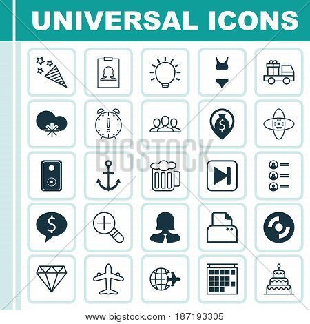 Set Of 25 Universal Editable Icons. Can Be Used For Web, Mobile And App Design. Includes Elements Such As File Scanner, Lorry Birthday, Job Applicants And More.
