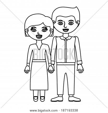 black contour couple woman blouse and skirt with man in formal suit and taken hands vector illustration