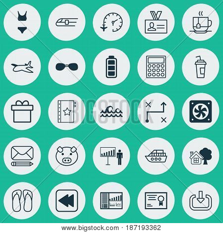 Set Of 25 Universal Editable Icons. Can Be Used For Web, Mobile And App Design. Includes Elements Such As Computer Ventilation, Accumulator Sign, Edit Mail And More.