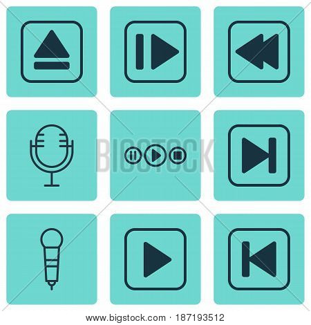 Set Of 9 Audio Icons. Includes Skip Song, Extract Device, Start Song And Other Symbols. Beautiful Design Elements.