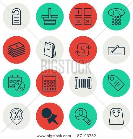 Set Of 16 E-Commerce Icons. Includes Identification Code, Money Transfer, Calculator And Other Symbols. Beautiful Design Elements.