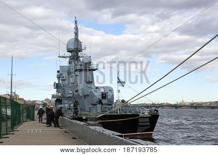 Saint Petersburg, Russia,may 03, 2017:A warship at the pier on the embankment