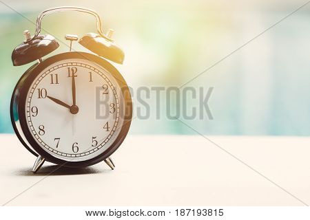 10 O'clock Retro Clock At The Swimming Pool Outdoor Relax Time Holiday Time Concept.