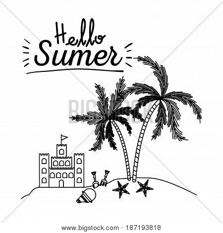 monochrome poster of hello summer with sandcastle and island with palm trees vector illustration