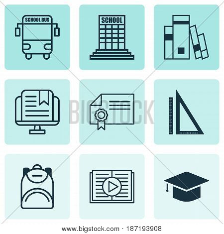 Set Of 9 Education Icons. Includes Haversack, Measurement, Transport Vehicle And Other Symbols. Beautiful Design Elements.