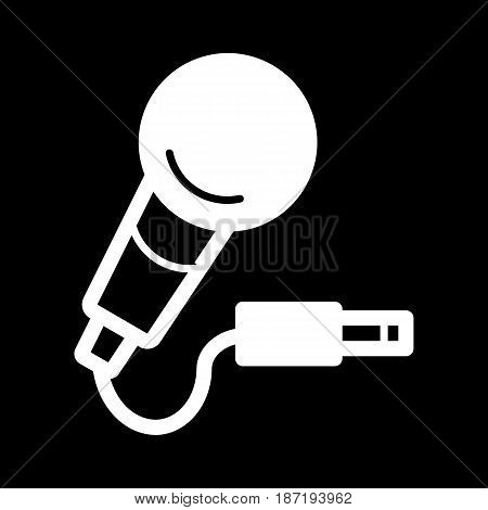 microphone with cord, vector icon. Isolated on black. eps 10