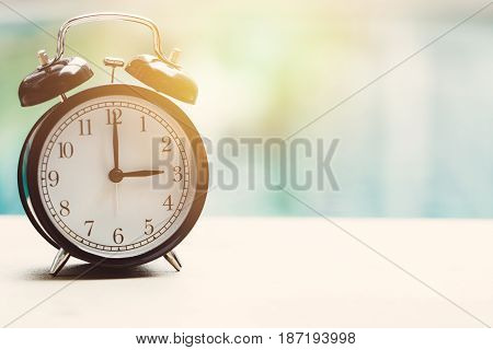 3 O'clock Retro Clock At The Swimming Pool Outdoor Relax Time Holiday Time Concept.