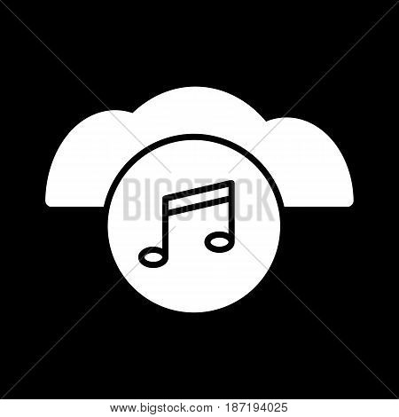 music note cloud sound silhouette icon. Isolated and line illustration. Vector graphic. eps 10