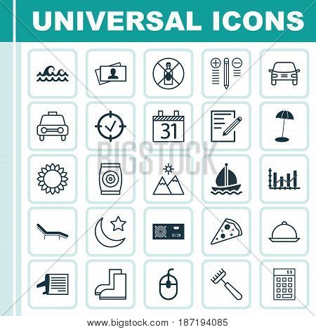 Set Of 25 Universal Editable Icons. Can Be Used For Web, Mobile And App Design. Includes Elements Such As Gardening Shoes, Coast Parasol, Fertilizer And More.