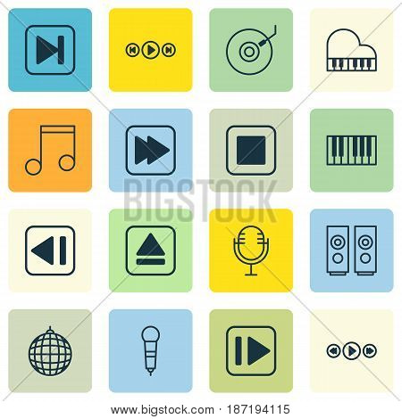 Set Of 16 Multimedia Icons. Includes Note, Sound Box, Audio Buttons And Other Symbols. Beautiful Design Elements.
