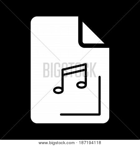 Audio file icon on black background. Vector illustration. eps 10