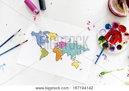 Cartography world map drawing with art class