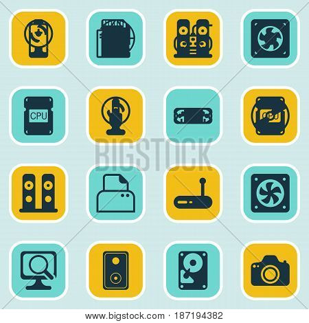 Set Of 16 Computer Hardware Icons. Includes Laptop, Memory Card, Computer Keypad And Other Symbols. Beautiful Design Elements.