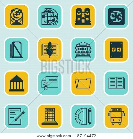 Set Of 16 Education Icons. Includes Academy, Distance Learning, Electronic Tool And Other Symbols. Beautiful Design Elements.