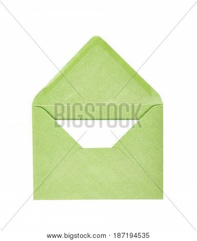 Single opened envelope with a copyspace letter inside, composition isolated over the white background