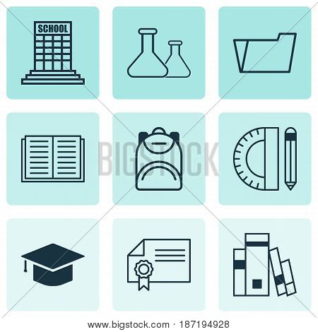 Set Of 9 Education Icons. Includes Education Tools, Graduation, Haversack And Other Symbols. Beautiful Design Elements.