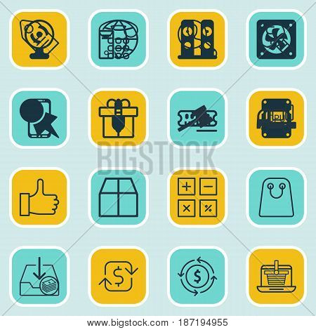 Set Of 16 Ecommerce Icons. Includes Finance, Present, Tote Bag And Other Symbols. Beautiful Design Elements.