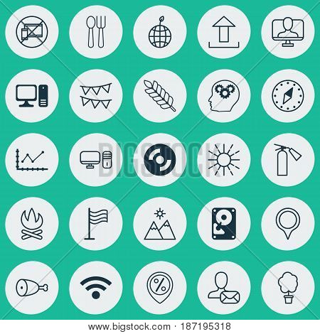 Set Of 25 Universal Editable Icons. Can Be Used For Web, Mobile And App Design. Includes Elements Such As Discount Location, World Ecology, Changes Graph And More.