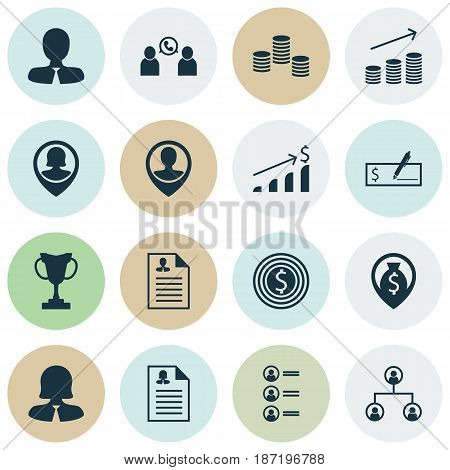 Set Of 16 Human Resources Icons. Includes Money, Successful Investment, Tree Structure And Other Symbols. Beautiful Design Elements.