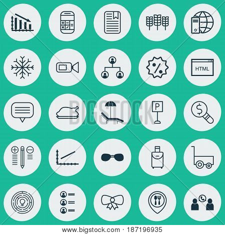 Set Of 25 Universal Editable Icons. Can Be Used For Web, Mobile And App Design. Includes Elements Such As Note Page, Summer Glasses, Chicken Fry And More.