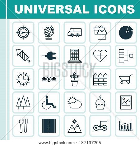 Set Of 25 Universal Editable Icons. Can Be Used For Web, Mobile And App Design. Includes Elements Such As Image, Clear Climate, Forest And More.